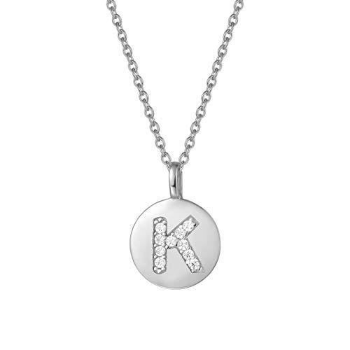 AGVANA Silberne Halskette mit Buchstabe Silber 925 Initialen Kette Alphabet Namenskette Kette für Damen Frauen, mit schönem Schmuckbox Buchstabe K