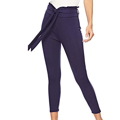 Allence Damen Hosen Elegant Paperbag Waist Stretch Streetwear Hosen Freizeithosen Anzughose Beiläufige Hose mit Schleifengürtel -