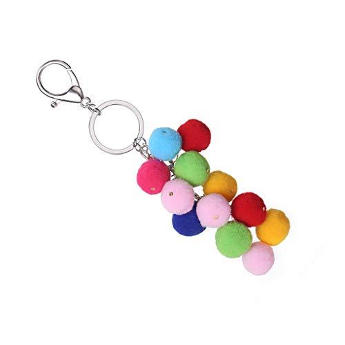 F-blue Bunte Plüsch-Kugel-Schlüsselanhänger Frauen-Dame-Beutel-Geldbeutel-Regenbogen-Geschenk Keychain Alloy Schlüsselanhänger Ring