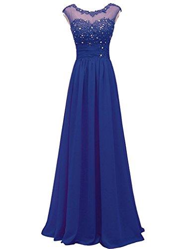 Carnivalprom Damen Chiffon Abendkleider Lange Elegant Brautjungfernkleider Appliques Cocktailkleider Königsblau