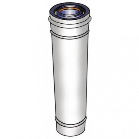 Rallonge ventouse Rolux Fioul Inox diamètre 80/125 longueur 250mm Fioul Blanc Réf. 114559