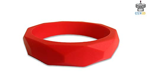 ChewAid Chew Pendant Bangle Bracelet Training and Development Fidget Toy Chew Necklace for Teething Babies,Sensory,Oral Motor, Anxiety, Autism, ADHD (Red)