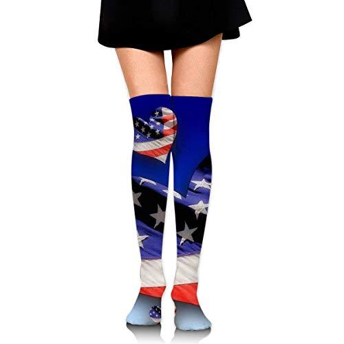 ouyjian Frauen-Mannschafts-Socken-Schenkel-hohes Knie USA-Flaggen-Herz-langes Schlauch-Kleid-Legging Sport-Kompressions-Strumpf (Kleid Usa Flagge)