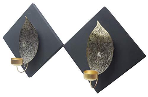 Decozen Quadratische Teelichthalter mit geschnitztem Blatt-Akzent, handgefertigt, metallisch, Wanddekoration für Wohnzimmer Flur, 2er Set in zwei Größen Varianten Muster 1