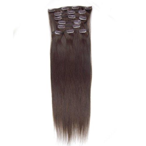 100% cheveux remy Lot de 8 50,8 cm Marron foncé (# 02) droite cheveux clip dans Extension de cheveux Poids : 100 g
