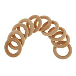 ELECTROPRIME 10pcs Unfinished Wood Round Loose Beads DIY Craft Teether Baby Ring 4cm