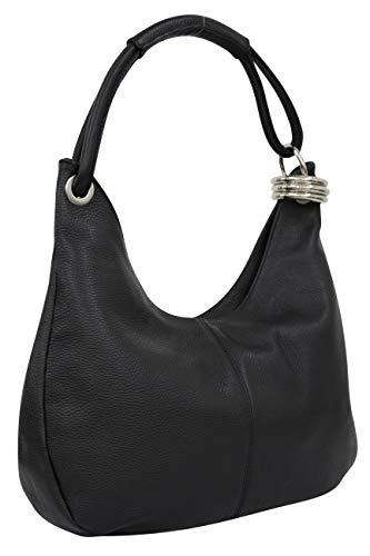 AmbraModa Damen Leder Handtasche Schultertasche Henkeltasche Beutel Hobo bag GL03 (Schwarz) -