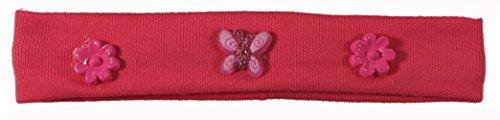Bandeau Cheveux pour Enfant en Textile et Plastique - Fleur Papillon - Rose Fuchsia