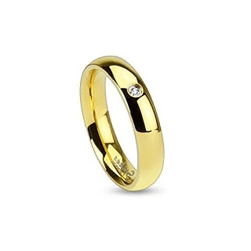 Coolbodyart acciaio anello unisex oro 4mm larghi Classic Line con Single zirconiMisura anello: 55 (17.5)