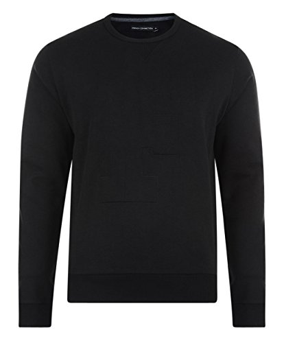 French Connection Men's Crew Neck AJ EMBOSSED 'F' Gloss Sweatshirt Black