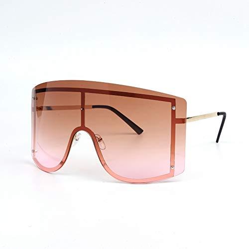 QDE Sonnenbrillen Übergroße Blau Gelb Gradienten Sonnenbrille Frauen Rote Randlose Metall Weibliche Sonnenbrille Shades, B