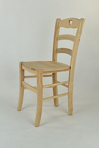 Set 2 sedie cucina e sala da pranzo dallo stile classico, con robusta struttura in legno di faggio levigato, non trattato, 100% naturale e con seduta in legno. set cuore 38 by tommychairs, sedie di design.