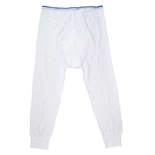 JOCKEY LONG lange Unterhose OVERKNEE Spurt Y-Front reine Baumwolle Feinripp mit Eingriff, Farbe:white;Grösse:M (Lange Unterhosen Jockey)