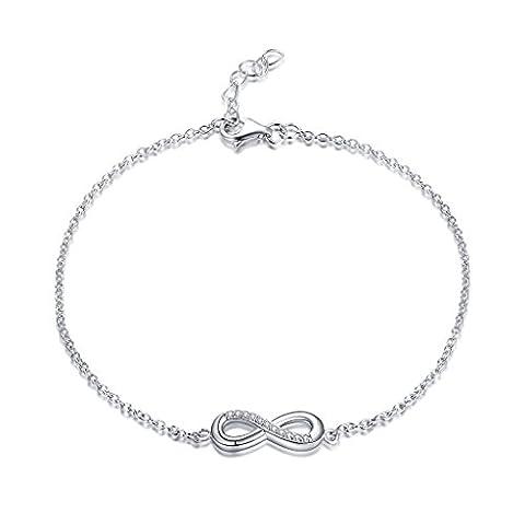 YL JEWELRY Bracelet Infini en 925 Argent Sterling et cubique bijoux en Zircone pour les femmes Enfant, 18-20cm