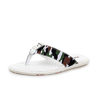 Chaussons & amp pour hommes, été caoutchouc Comfort Casual Chaussures d'eau talon plat Sandales Blanc Bleu sandales US9.5 / EU42 / UK8.5 / CN43