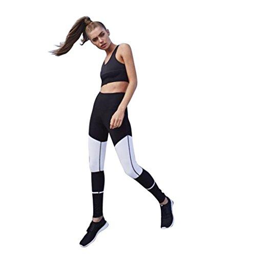 TWIFER Frauen Sportbekleidung Yoga Workout Mid Taille Laufen Hosen Fitness Elastische Leggings (Schwarz, S)