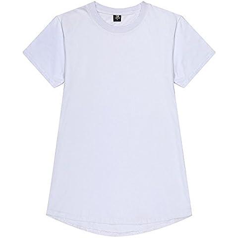 Men 's Semplice Cotone Slim Girocollo Manica Corta T-Shirt Nel Lungo Tratto Di Colore Uniforme T - Shirt ()