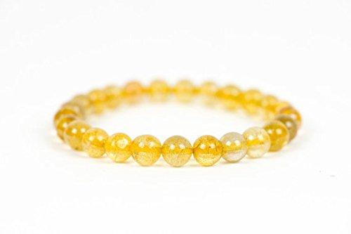 Oro quarzo rutilato bracciale, bracciale pietra preziosa, braccialetto, gioielli fatti a mano, gioielli 8mm