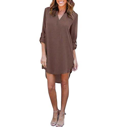 Damen Kleider,Kanpola Frauen Lange Ärmel Blusenkleid Knielang Tunika Shirt Formelle Büro Kleid Casual Partykleid