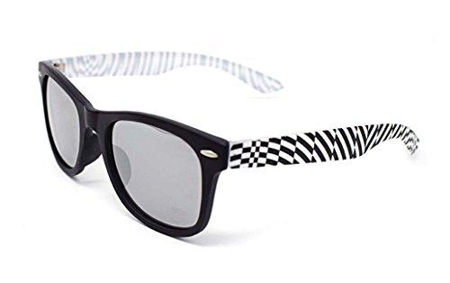 UltraByEasyPeasyStore Schwarz mit Gestreiften Seiten Klassische Sonnenbrille für Kinder UV400 Schutz Unisex UVA UVB Kinder Mädchen Jungen Shades