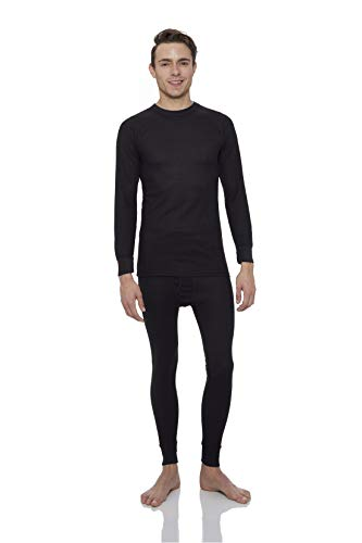 Knit Long Johns (Rocky® Men's Thermal Long John Underwear 2Pc Set Waffle Knit Top and Bottom (3Xlarge, Black))
