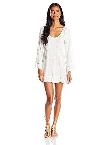 Lucy Love Women's Mayfair Embroidered Gauze Tunic Bell Sleeve Dress, White, Medium