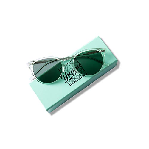 Yuppie Swedish design unisex retro vintage sunglasses with ultra premium handfinished Mazzuschelli acetate. For the young urban professional. (Mint Transparent Dusk Green Lens) (Mint Sonnenbrille Green)