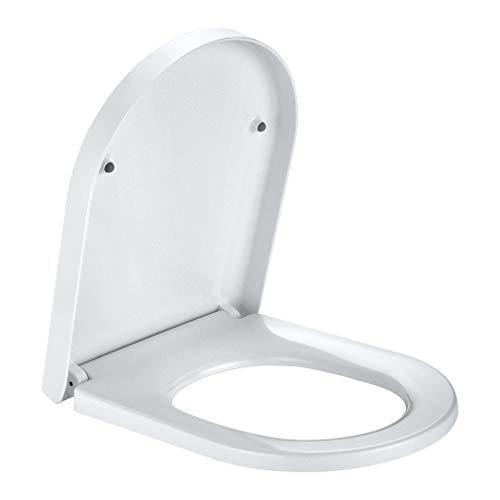 Auralum WC Sitz Toilettendeckel Einstellbare Länge, Toilettensitz familienfreundlich antibakteriell aus Duroplast, U-Form Klodeckel Absenkautomatik