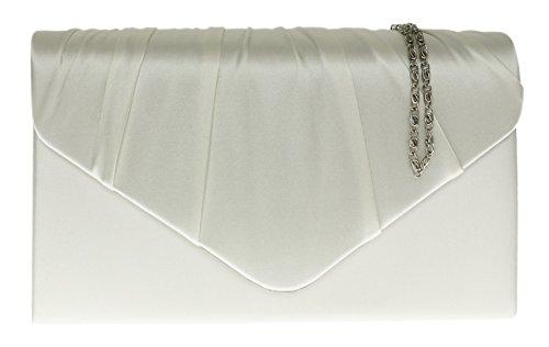 Girly Handbags Schöne Elegante Gefaltete Satin Clutch Tasche Umhängetasche Vintage Hochzeits Party Abend (Clutch Vintage Gefütterte)