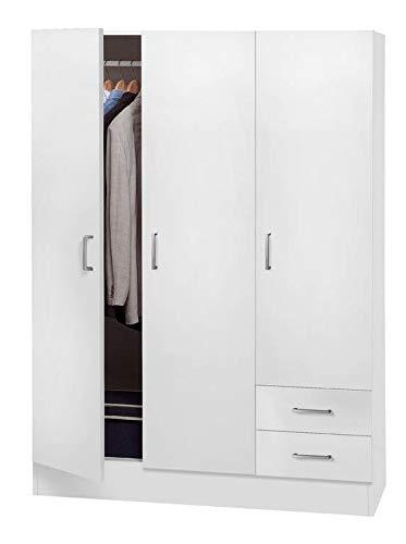 Composad srl armadio 3 ante e 2 cassetti bianco opaco