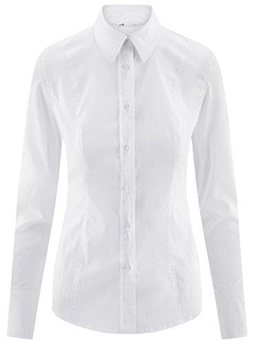 oodji Collection Damen Baumwoll-Hemd Basic Weiß (1000N)