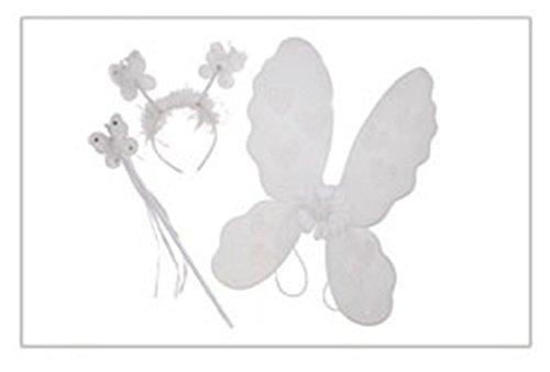 Karnevalsbud - Kinder Kostüm Set- Plüsch Haarreif- Glitzer Zauberstab- Flügel mit Herzprint, 45x40cm , Weiß