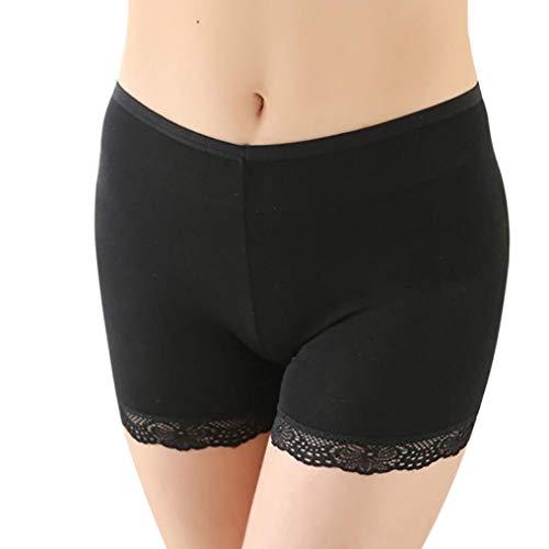 Janly Frauen Spitzen Tiered Röcke kurzen Rock unter Sicherheitshosen Unterwäsche Shorts Spitze DREI Hosen Frauen Baumwolle Spitze Leggings Sicherheitshosen (Schwarz) -