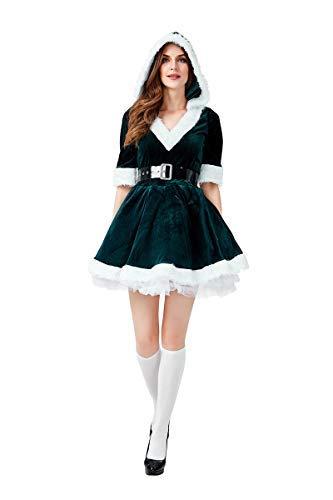 Fanessy. Damen Mrs. Santa Claus Kostüm für Kinder Mädchen Sexy Weihnachtskleid mit Kapuze und Gürtel Weihnachtsfrau Kostüm Kind Erwachsenen Verkleidung Cosplay Outfits für Weihnachten Party (Party Stadt Kostüm Für Hunde)