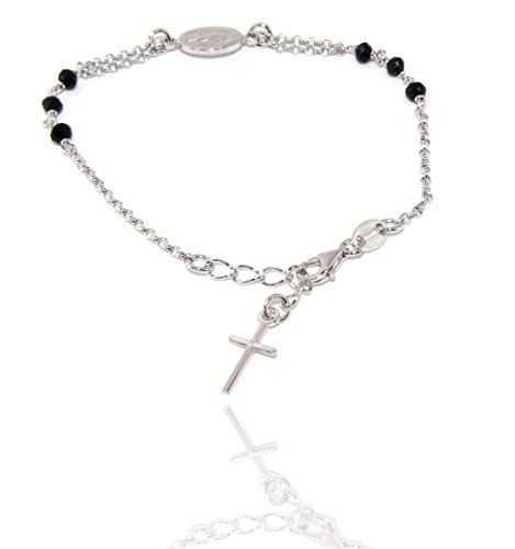 Nalbori ® bracciale rosario uomo donna in argento 925 ovale madonna, croce e cristallo nero 16,00 18,50 cm