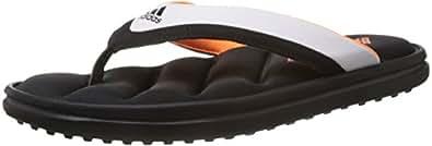 adidas Men's Zeitfrei Thong Ff Black, White and Orange Flip Flops Thong Sandals - 11 Uk