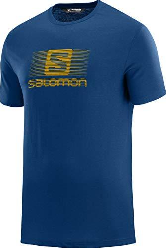 Salomon Blend Logo SS tee T-Shirt, Hombre, Azul (Poseidon), M
