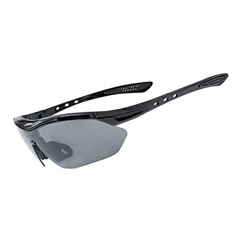 Fahrradbrille Sportbrille Radsportbrille mit 5 Wechselgläsern und Myopie-Rahmen Unisex, Sport Sonnenbrille für Laufen/Radfahren/Fahren/Golfen (Schwarz)