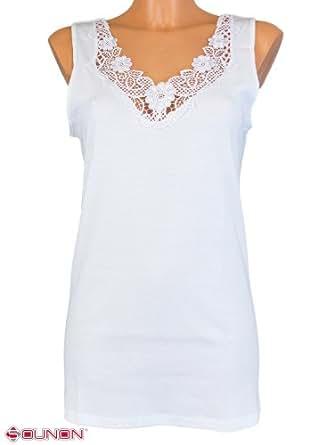 2 Qualität Damen Unterhemd mit Spitze von SOUNON® - Weiss, Groesse: 36-38