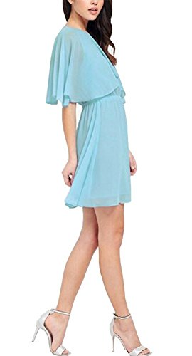 Wealsex Damen Chiffon Kleid Fledermausärmel Elegant Brautjungfernkleid Partykleid Hellblau