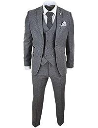 Costume Homme Laine mélangée Gris 3 pièces Gilet Veston croisé en Tweed Style Peaky Blinders années 20