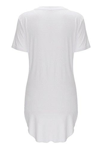 Bigood Sexy T-shirt Femme Chemise Top Manche Courte Haut Col Rond Lèvre Imprimé Soirée Casual Blanc
