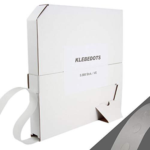 Klebedots 5000 Stück Ø ca. 9 mm im Spender, doppelseitige transparente Klebepunkte in verschiedenen Klebestärken / leicht haftend, ablösbar