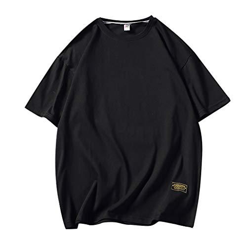 TAMALLU Herren T-Shirt Lässig Lose Einfarbig Männer Tee O-Ausschnitt Mode Top Bluse(Schwarz,M(M))