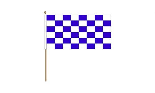 GIZZY Royal Blau/Weiß karierten 45,7x 30,5cm Hand Waving Flag, mit Holz Stick und Krone