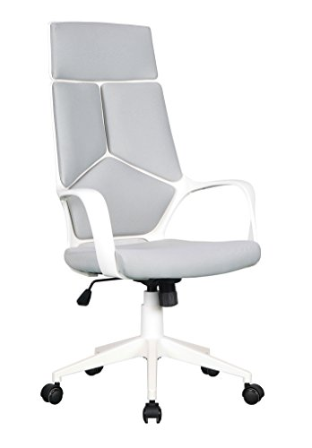 SixBros. Bürostuhl Chefsessel Drehstuhl Grau/Weiß - 0898H/2253
