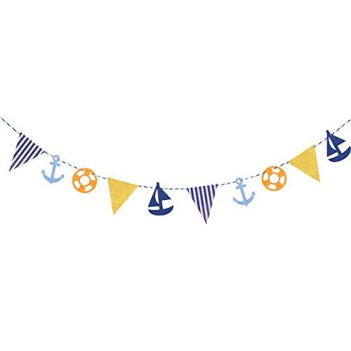 Tinksky 3.4Meter mediterranen Stil Kids Schlafzimmer Deko Girlanden Flagge Anker Boot-Schiff Bunting Flagge Dekoration Streudeko Dekoration für Kinder Geburtstag-Deko (Decoraciones Fiesta De Halloween)