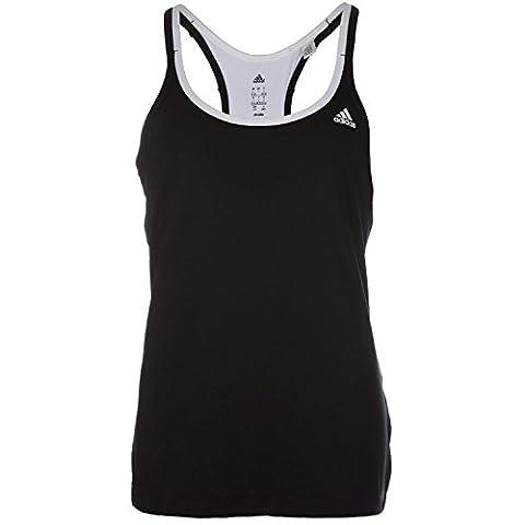 adidas Damen T-shirt Basic Strappy, Schwarz/Weiß, 2XL, 4055344544396