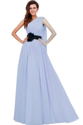 Lemandy robe de soirée mousseline longueur ras du sol épaule asymétrique bleu ciel