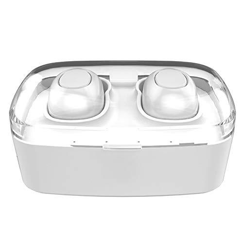 fuchsiaan IPX7 Waterproof Wireless 5.0 Blue-Tooth Ohrhörer mit Ladekoffer für Business, Spiel, Sport | 200H Standby-Zeit White -